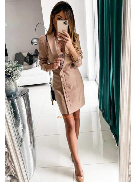 Женское платье пиджак бежевое