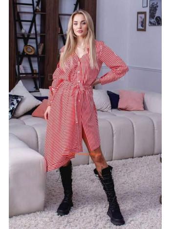 Асимметричное платье рубашка в полоску