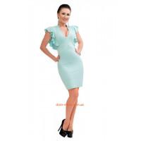 Короткое однотонное нарядное летнее платье