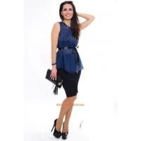 Жіноча стильна блузка без рукав із атласним поясом