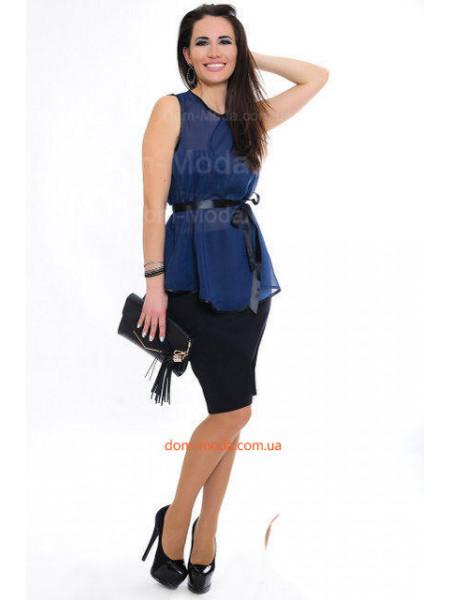 Женская стильная блузка без рукав с атласным поясом