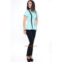 Модна жіноча блузка із невеликим рукавом і баскою