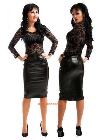 Кожаная юбка с вырезом большого размера