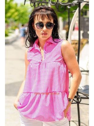 Женская летняя рубашка без рукав в клетку