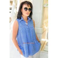 Жіноча літня сорочка без рукава в клітинку