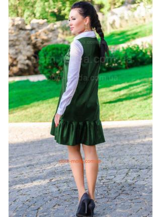 Кожаный женский короткий сарафан