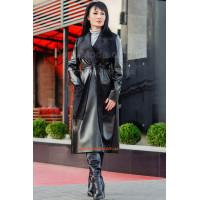 Женское модное пальто из эко кожи. Норма и батал.