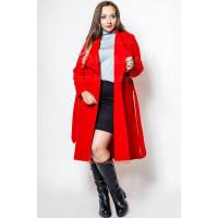 Женское пальто с поясом батал
