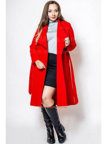 Жіноче пальто з поясом батал