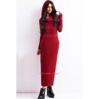Стильное длинное платье женское с капюшоном