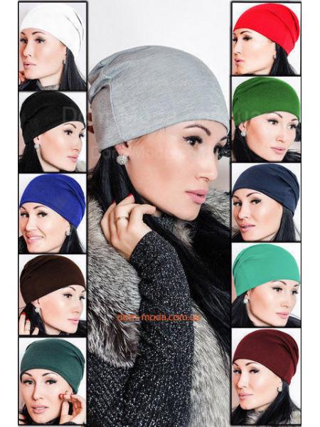 Однотонная женская шапка. Акция 3 шт