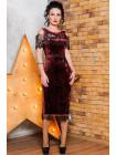 Вечернее велюровое стильное платье с черным кружевом