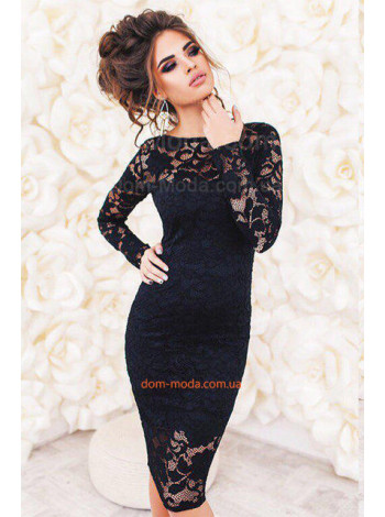 Вечернее короткое платье женское кружевное