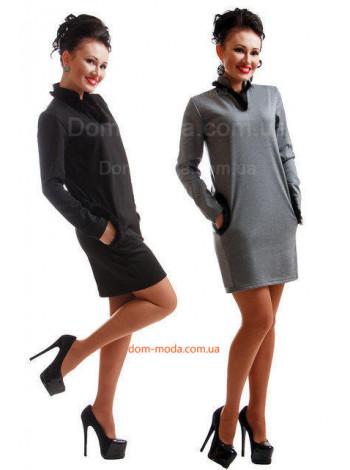 Женское короткое платье с начесом и мехом