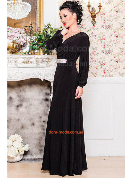 Вечернее макси платье с глубоким вырезом на юбке. Норма и батал