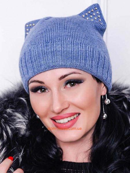 Женская шапка на флисе с  ушками