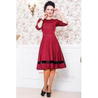 Женское платье однотонное с пышной юбкой и вставкой из сетки