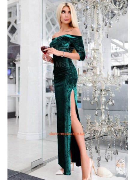 Облегающее длинное платье с вырезом. Норма и батал