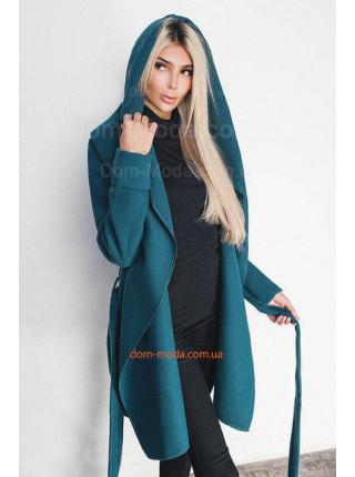 Кашемировое однотонное пальто с поясом