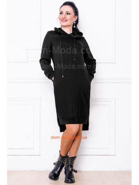 Однотонное женское платье туника. Норма и батал