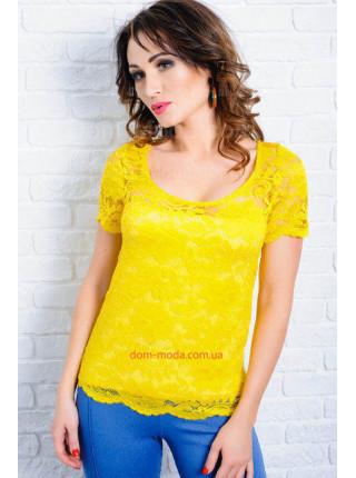Гипюровая женская блуза с коротким рукавом. Норма и батал