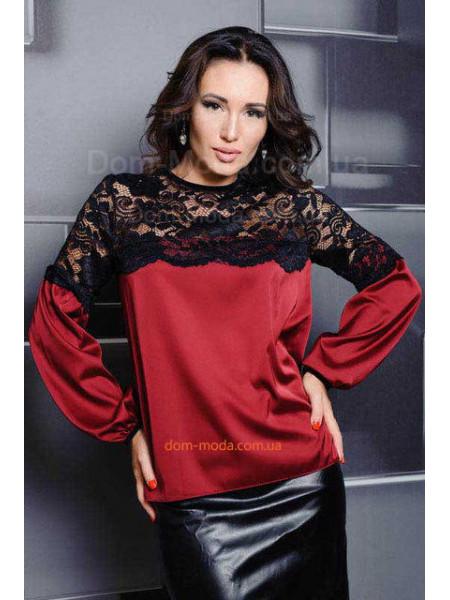 Шелковая блуза с черным кружевом большого размера