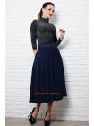 Стильная трикотажная юбка клеш миди большого размера