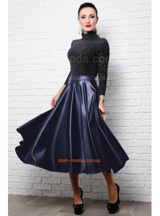 Кожаная юбка клеш для полных