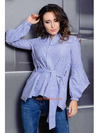 Женская коттоновая  рубашка в полоску для полных девушек