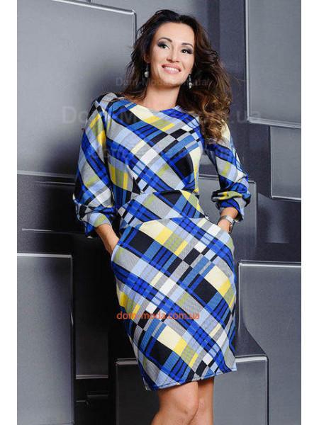 Стильное платье женское с поясом для полных