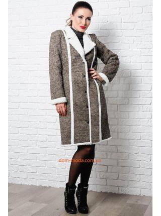 Модное пальто женское на овчине для полных
