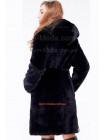 Чорна шуба із капюшоном великого розміру