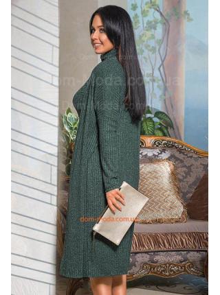 Трикотажный костюм платье с кардиганом большого размера