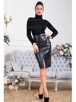 Кожаная юбка с высокой талией для полных