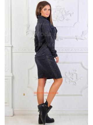 Теплый костюм с юбкой и кофтой для полных женщин