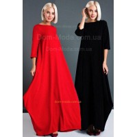 Длинное модное платье красного и черного цвета для полных