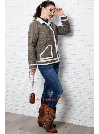Короткая куртка на овчине большого размера