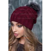 Зимова шапка жіноча із помпоном