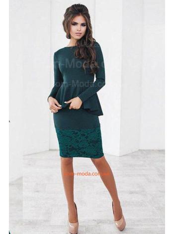 Жіноча вечірня сукня з баскою для повних