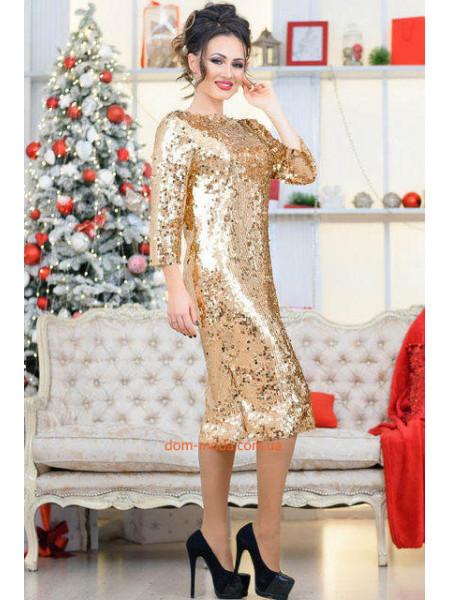 Платье женское с открытой спиной в пайетки для полных