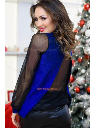 Ошатна жіноча блуза із люрексом великого розміру