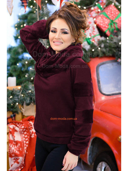 Теплая кофта с шарфом хомутом в подарок. Норма и батал
