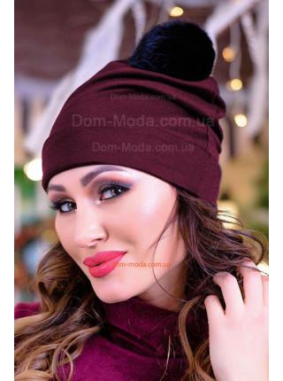 Жіноча трикотажна шапка з помпоном із песця