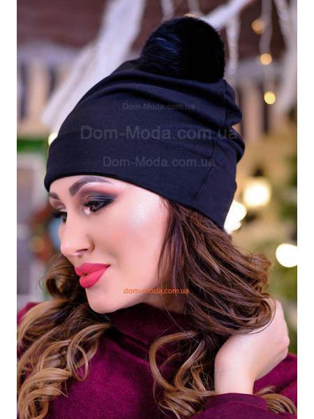 Женская трикотажная шапка с помпоном из песца