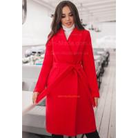 Класичне кашемірове пальто із поясом для пишних жінок