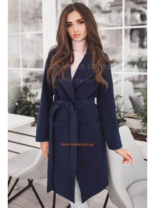 Женское кашемировое пальто под пояс для полных