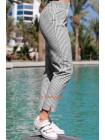 Летние брюки в полоску на резинке большого размера