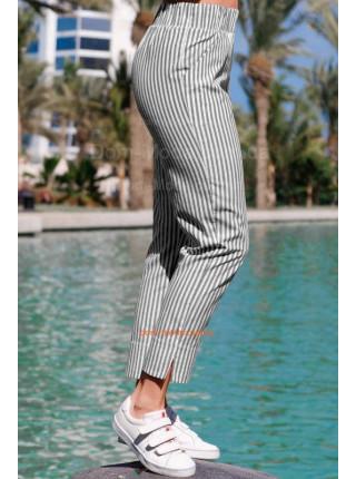 Літні брюки в полоску на резинці великого розміру