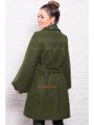 Кашемировое женское пальто трапеция с поясом для полных