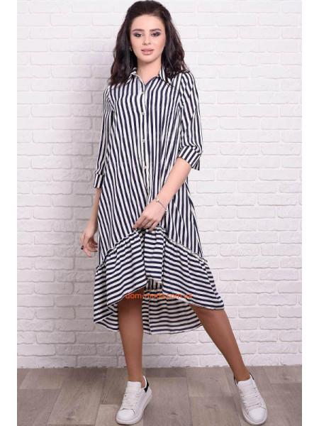 Стильное платье рубашка в полоску и горох